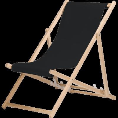 Liegestuhl - Holz / Stoff schwarz