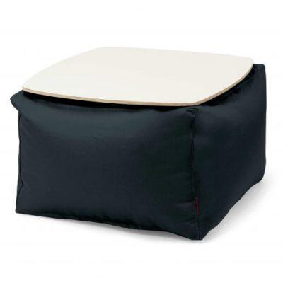 Loungebag - Tisch - Stoff Outside Schwarz mit Holzplatte weiß