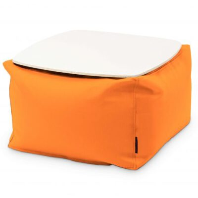 Loungebag - Tisch - Stoff Ox Orange mit Tischplatte Weiß