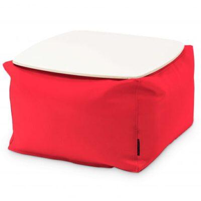 Loungebag - Tisch - Stoff Ox Rot mit Tischplatte Weiß