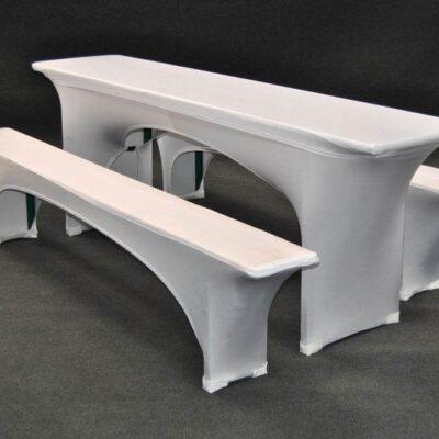 Set - Hussen weiß Stretch für Biertischgarnitur (2x Bank 1 x Tisch)