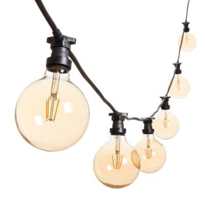 Vintage Lichterkette - 5m - 8 LED Globe Birnen Ø 125 mm