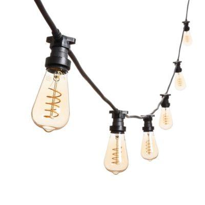 Vintage Lichterkette - 5m - 8 LED Spiralfaden Edisonbirnen Ø 64 mm